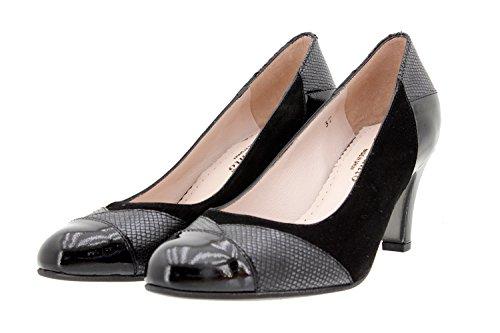 Scarpe donna comfort pelle PieSanto 9209 scarpe con tacco comfort larghezza speciale Negro