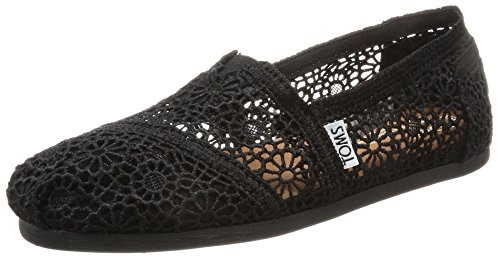 TOMS Women's Black Moroccan Crochet Alpargata Low-Top Slippers, Black (Black), 6 UK
