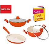 Nirlon 4 Layer Ceramic Coating Non-Stick Induction Base-Cooking Pans & Pots Set Of 3 & Serve (Aluminium, Stainless Steel, Bakelite, Glass)-Orange