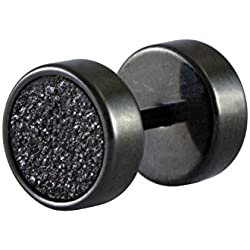 Sarah Black Glitter Single Stud Earring for Men - Black