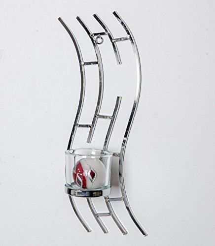 Formano Windlicht Kerzenständer Welle Silberne Metall Ringe mit Kerzen-Glas (44 cm)