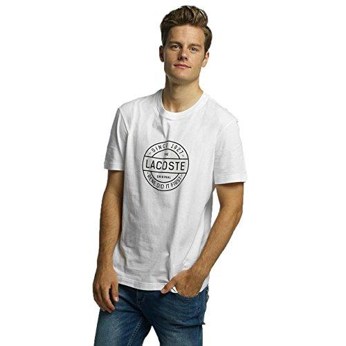 Lacoste TH1176 Herren T-Shirt mit Lacoste Logo Druck, Rundhals, Kurzarm, Regular Fit, 100% Baumwolle White (001)