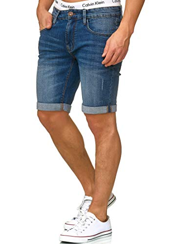 Indicode Herren Caden Jeans Shorts Kurze Denim Hose mit Destroyed-Optik aus Stretch-Material Regular Fit Medium Indigo - Normal XXL