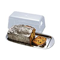 CHG Cake Plate 35x17x10 cm with lid, Stainless Steel, Silver, 35 x 17 x 10 cm