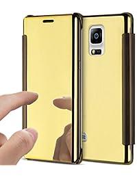 Funda Samsung Galaxy Note 4,Cover Samsung Galaxy Note 4 Funda de cuero,Ysimee Vista de ventana translúcida Flip Cover Chapado espejo de maquillaje protectora caso Ultra-Delgado Anti-Arañazos Shell Caja del Teléfono Móvil para Samsung Galaxy Note 4-Dorado