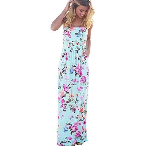 Harson&Jane Damen-Plain-Schaufel-Hals lange Jersey-Weste voller Länge bodycon maxi Kleid Blaue Blumen