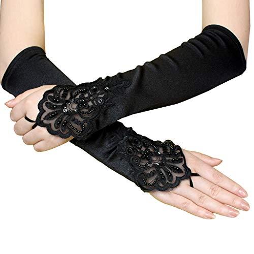 AmyGline Etikette hohle Nachtclub handschuhe Hochzeit Handschuhe Schwarze Elegante Flapper Abendoper Satin Handschuhe für Frauen Ellenbogenlänge der 1920er ()