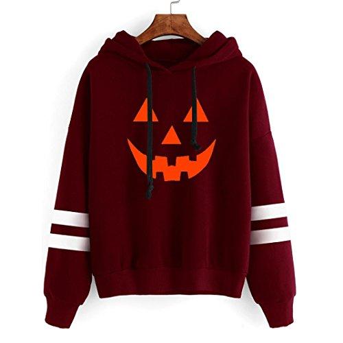 Fami-Halloween signora a maniche lunghe stampa maglione con cappuccio Rosso