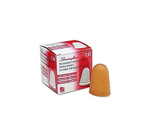 Swingline® - Rubber Finger Tips, Size 14, X-Large, Amber, 12/Pack - Sold As 1 Dozen - Tough, high-quality tips last a long time.