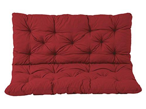 Ambientehome 2er Bank Sitzkissen und Rückenkissen Hanko, rot, ca 120 x 98 x 8 cm, Bankauflage, Polsterauflage