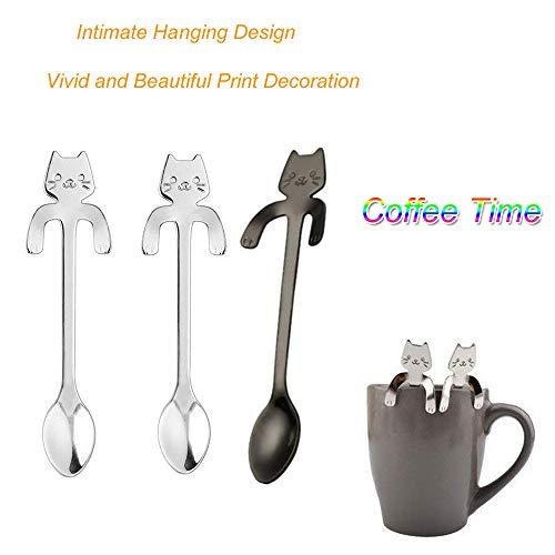 TianranRT 10pcs reizend Katze rostfrei Stahl hängend Löffel Nachtisch Löffel Tee Kaffee Kugeln