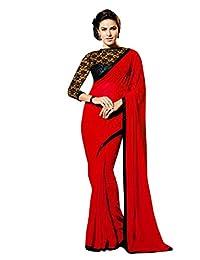 REYA Georgette Saree (SPATTIRED_Red_Free Size)