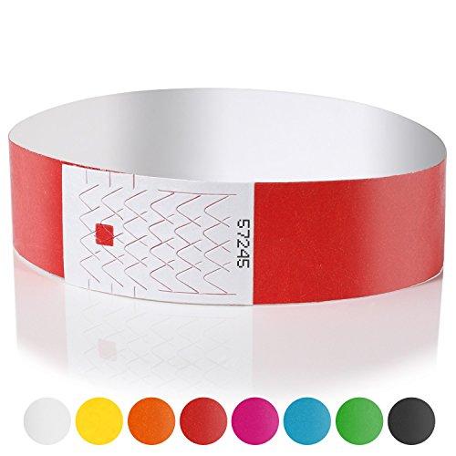 er (100 Stück | nummeriert) – Wasserfeste, bedruckbare Securebänder zur Kontrolle und Sicherheit bei Veranstaltungen und Events (Rot) (Party-bänder)