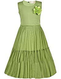 ChipChop Kids Girls Olive Green Sleeveless Net Layered Dress with Flower - 1 to 2 Years, 2 to 3 Years, 3 to 4 Years, 4 to 5 Years, 5 to 6 Years