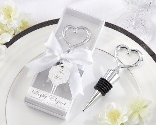 Bomboniera regalo inviti tappo acciaio di bottiglia di vino con la forma cuore