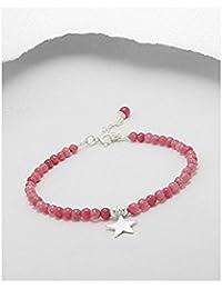 BrendaStyle Bijoux Bracelet Pour Femme En Argent 925/1000 Avec Agate Rouge et Etoile (17.5CM - 20CM)