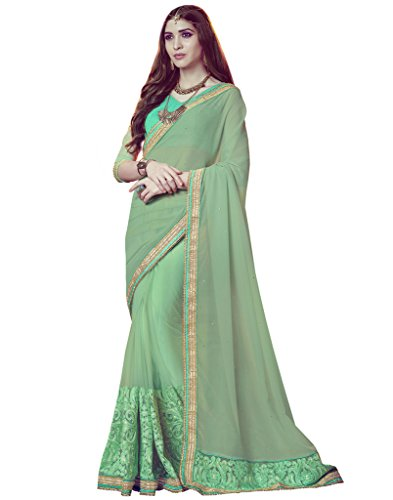 DesiButik's Lovely Lime Green Georgette And Net Saree  available at amazon for Rs.2439