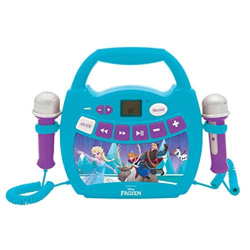 Lexibook MP300FZZ Disney Frozen, Mein erster digitaler Player mit 2 Spielzeugmikrofonen, Aufnahmefunktion, Stimmeneffekt, Blau/Lila