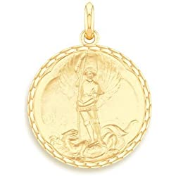 SAINT MICHEL - Médaille Religieuse - Or Jaune 9 carats - Diamètre : 17 mm - www.diamants-perles.com
