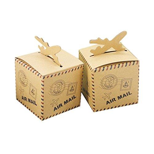 SHINA 50pc cajitas con el estilo de Matasellos Papel kraft Cajas de regalo para calamelos dulces Fiesta Boda favores