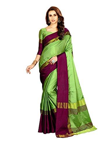 Art Décor Women\'s Cotton Silk Pista Light Green Saree With Blouse