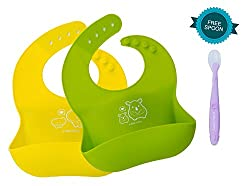 A Baby Cherry Bib :: 21st Century Waterproof Silicone Bib for infants and toddlers (6M to 5 Yr) - Unisex || Hygienic, Safe, Easy to clean, Keep stains off || Set of 2 + Free Soft Spoon