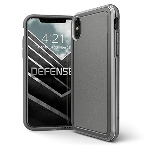 iPhone X Fall, X-Doria Defense Ultra Series–Heavy Duty Schutzhülle mit Rahmen aus eloxiertem Aluminium, Military Grade Drop Getestet Schutzhülle für Apple iPhone X, iPhone 10, [Schwarz], Grau