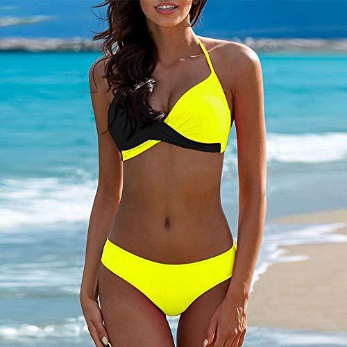 Bikini amarillo y negro de top cruzado