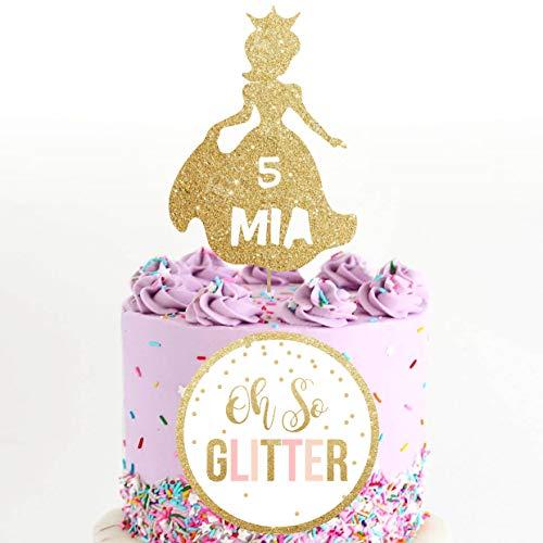 Tobti6ob Prinzessin Kuchen Topper Prinzessin Party Geburtstag Glitzer Kuchen Topper benutzerdefinierte personalisierte Kuchen Topper Kuchen Dekoration Prinzessin (Prinzessin Kuchen Dekoration)