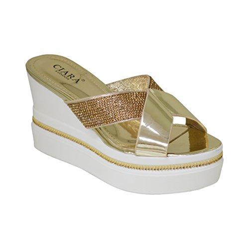 Le nuove signore estate delle donne Criss Cross Diamante Slip On Sandali con zeppa Oro