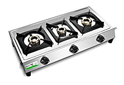 Big Flame Silver color LPG Gas Stove Three Burner Standard size