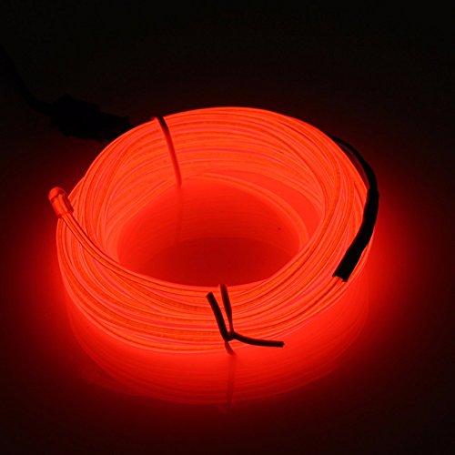 Lysignal Wasserdicht Flexibel 5M 15 FT Neon Beleuchtung Lichtschlauch Leuchtschnur EL Kabel Wire mit 3 Modis für Disco Party Kinder Halloween Kostüm Kleidung Weihnachtsfeiern(Rot) (Autos Halloween Kostüme)