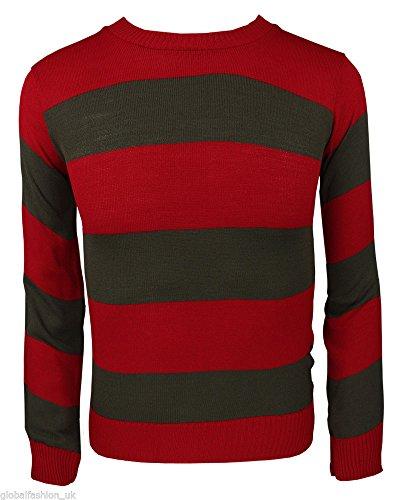 Krueger Kostüm Jungen Freddy (Freddy Krueger Horror Rot & Grün Pulli Damen Mädchen Jungen Männer Kostüm - Rot & Grün Pulli,)