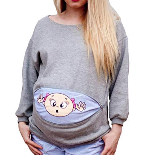 JEELINBORE Felpa Maniche Lunghe di maternità Magliette Premaman Stampa Top T Shirt Gravidanza Donna