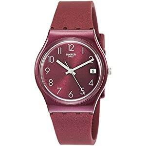 Swatch Damen Analog Quarz Uhr mit Silikon Armband GR405