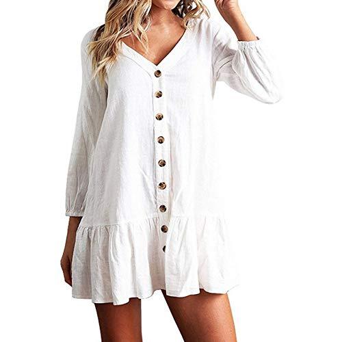 ual Frauen Kleid Frauen Baumwolle Einreiher Taste Rüschen Kurzarm Kleid Feste Lose Kleid Sommer-Weiß,XL ()