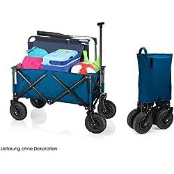 Campart Travel Chariot Pliable Pratique Bleu avec Barre télescopique et pneus pneumatiques - Charge : 70 kg