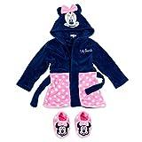 Disney Baby Set Bademantel + Schuhe Mädchen | Motiv: Minnie Mouse | Geschenkset für Neugeborene & Kleinkinder | Größe: schwarz-rosa 6-9 Monate (74)