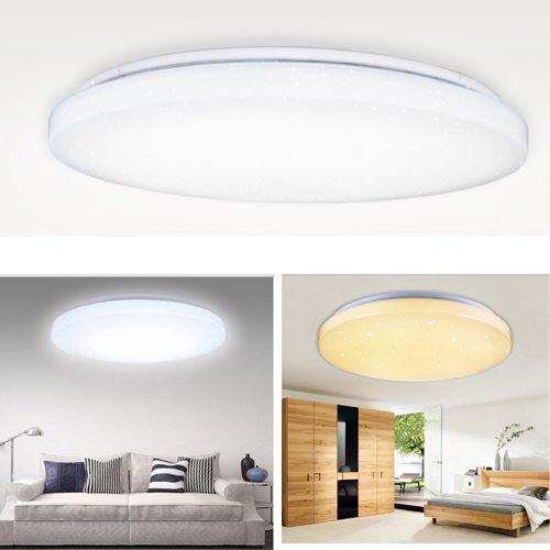 VINGO® 60W LED Deckenlampen Wohnraumleuchten RGB Farben Auswahl Rund Deckenbeleuchtung Modern Beleuchtung Decke IP44 gemütliches Licht Geeignet für Wohnzimmer Schlafzimmer