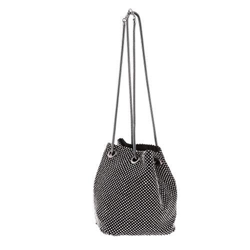 Damen Bucket Bag Schultertasche Umhängetasche Clutch Abendtasche Handtasche - Schwarz
