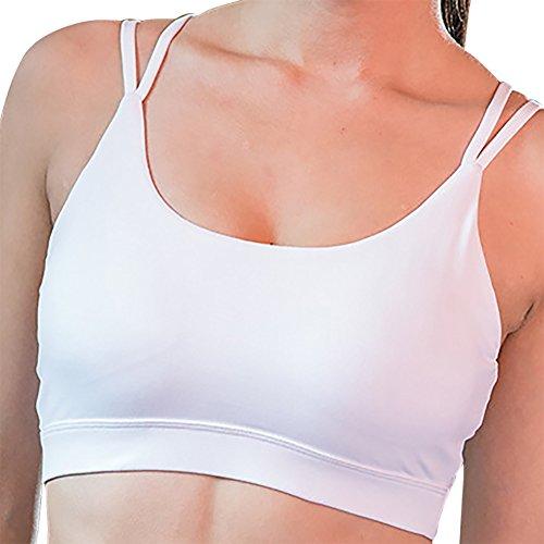 iBaste Sexy Soutien-gorge Sport Lingerie Femme Brassière Sans Armature Double Croisés Blanc