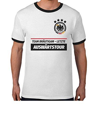 JGA Tshirt Junggesellenabschied Team Bräutigam Letzte Auswärtstour T-Shirt XX-Large Weiß/Schwarz (Gruppe Kostüm Ideen Für 20)