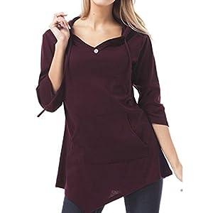 Providethebest Frauen-Mädchen-unregelmäßiger Rand mit Kapuze Taschen Tops 3/4 T-Shirt Herbst Hoodies