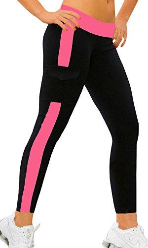 iLoveSIA Jogging damen hose sport Fuchsie/Schwarz Stretch Leggings lange Strumpfhosen jogginghose,L