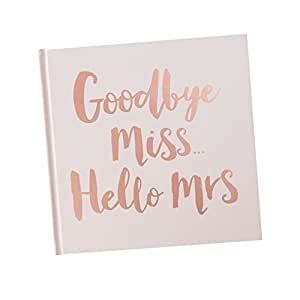 """Gäste-Buch """"Goodbye Miss Hello Mrs"""" in rosa mit Aufschrift in Rosé-Gold Kupfer - Gäste-Buch Junggesellinnen-Abschied, JGA-Party, Hen-Party - Hochzeit, Standesamtliche Trauung"""