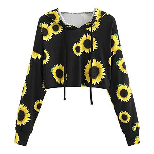 gsgeschenkSonnenblumen Druck Tops Damen Sommer Kleider T Shirt Mädchen Täglich Lange Ärmel Mit Kapuze Sweatshirt Persönlichkeit Bluse(Schwarz,M) ()