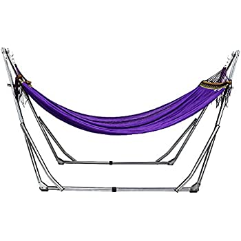 unho colorful hammock with space saving folding steel stand includes portable carrying case for indoor  u0026 outdoor folding portable hammock   garden hammock or beach hammock  amazon      rh   amazon co uk