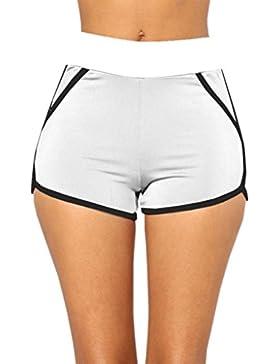 SHOBDW Pantalones de Verano de Moda Mujeres Mediados de Cintura Cortocircuitos Deportivos Gym Workout Cintura...