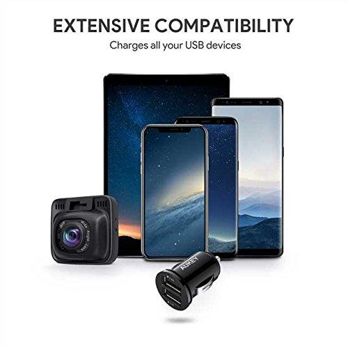 AUKEYCargadordeCocheconDoblePuertoCargadorMóvil24W/4,8AconTecnologíaAiPowerAdaptadordeCocheparaiPhoneXS/Max/X,iPadAir/Pro,Samsung,ymás