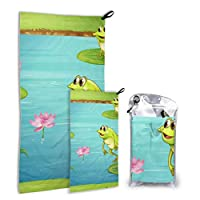 Rtosd Three Frogs Living In The Pond 2 Pack Microfiber Outdoor Beach Towel Boy Towels Beach Set Fast Drying Best For Gym Travel Backpacking Yoga Fitnes